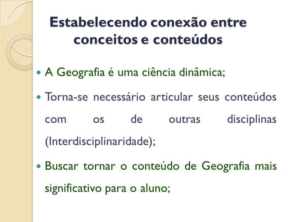 Estabelecendo conexão entre conceitos e conteúdos  A Geografia é uma ciência dinâmica;  Torna-se necessário articular seus conteúdos com os de outras disciplinas (Interdisciplinaridade);  Buscar tornar o conteúdo de Geografia mais significativo para o aluno;