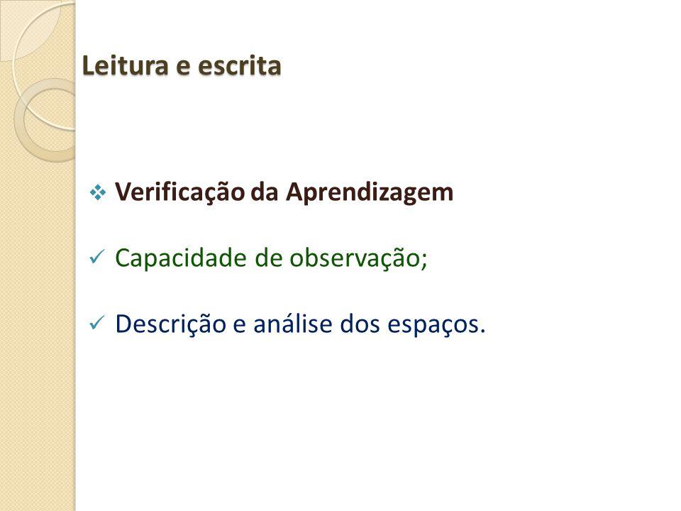 Leitura e escrita  Verificação da Aprendizagem  Capacidade de observação;  Descrição e análise dos espaços.