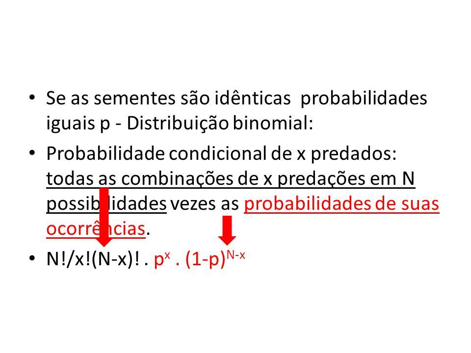 • Se as sementes são idênticas probabilidades iguais p - Distribuição binomial: • Probabilidade condicional de x predados: todas as combinações de x p