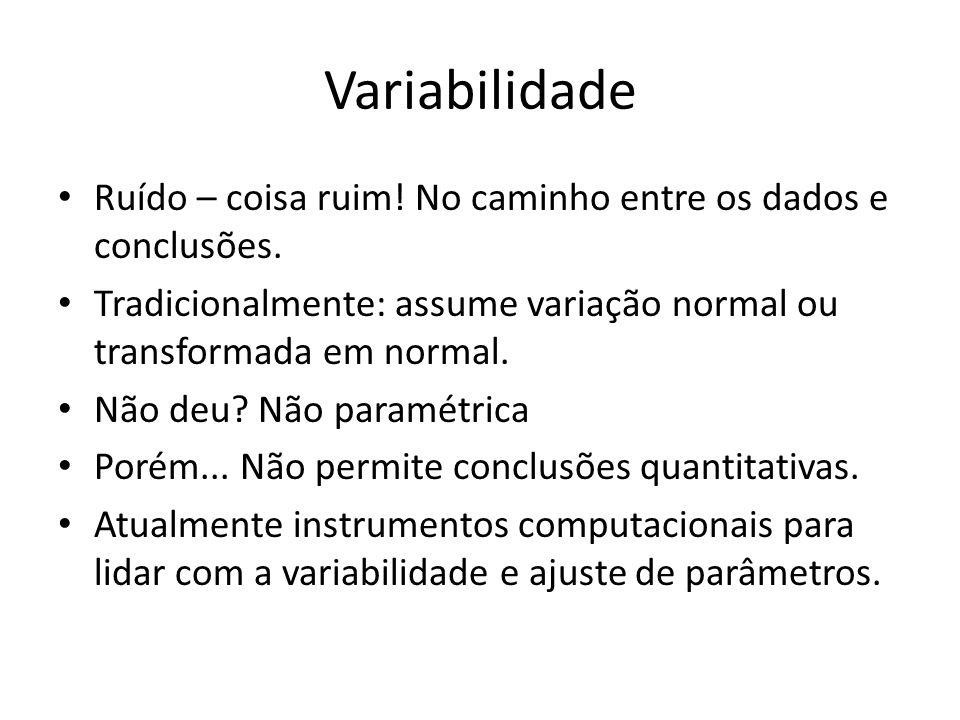 Variabilidade • Ruído – coisa ruim! No caminho entre os dados e conclusões. • Tradicionalmente: assume variação normal ou transformada em normal. • Nã