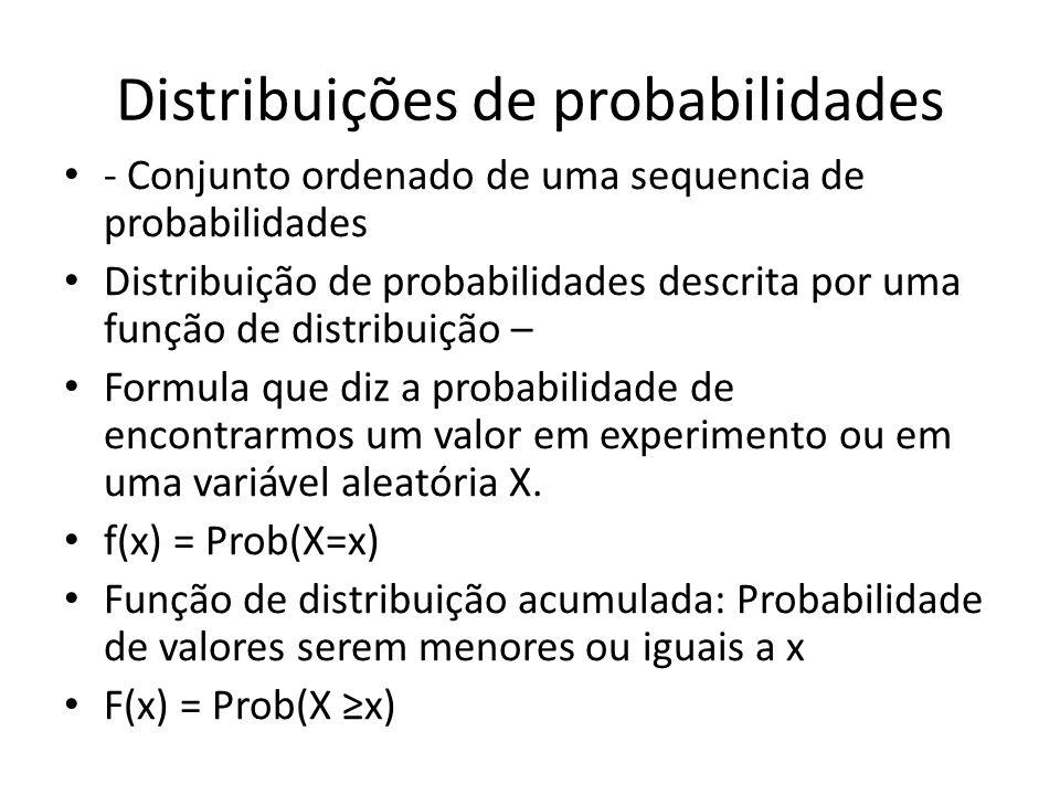 Distribuições de probabilidades • - Conjunto ordenado de uma sequencia de probabilidades • Distribuição de probabilidades descrita por uma função de d