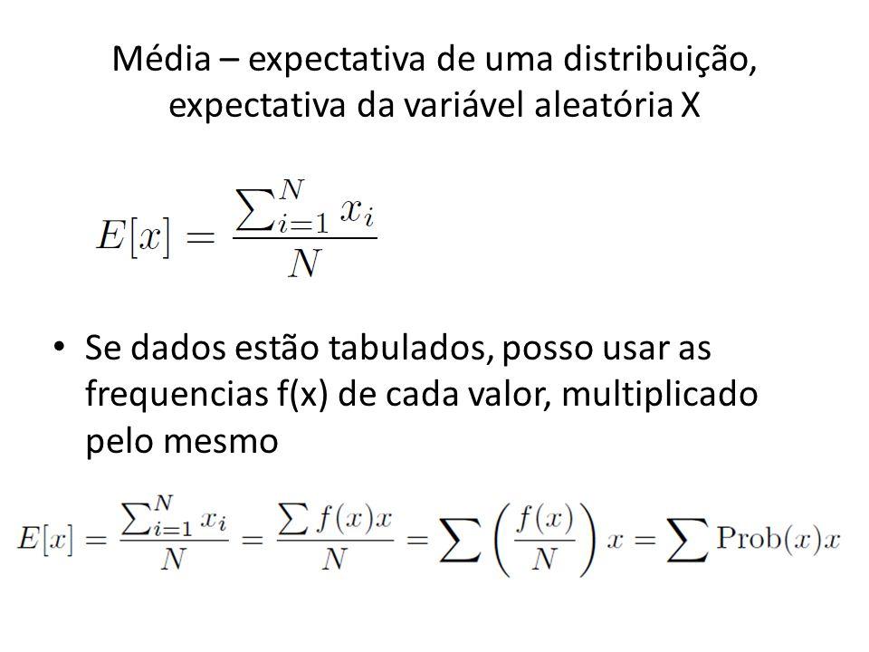 Média – expectativa de uma distribuição, expectativa da variável aleatória X • Se dados estão tabulados, posso usar as frequencias f(x) de cada valor,