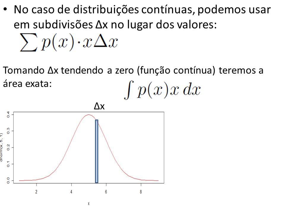 • No caso de distribuições contínuas, podemos usar em subdivisões ∆x no lugar dos valores: ∆x Tomando ∆x tendendo a zero (função contínua) teremos a á