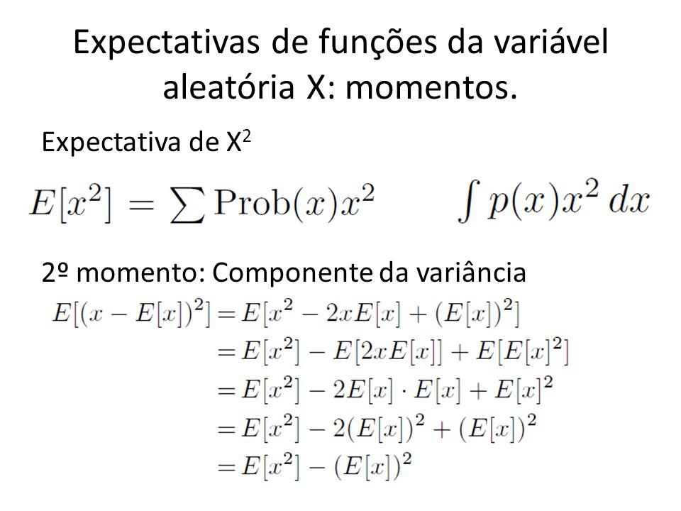 Expectativas de funções da variável aleatória X: momentos. Expectativa de X 2 2º momento: Componente da variância