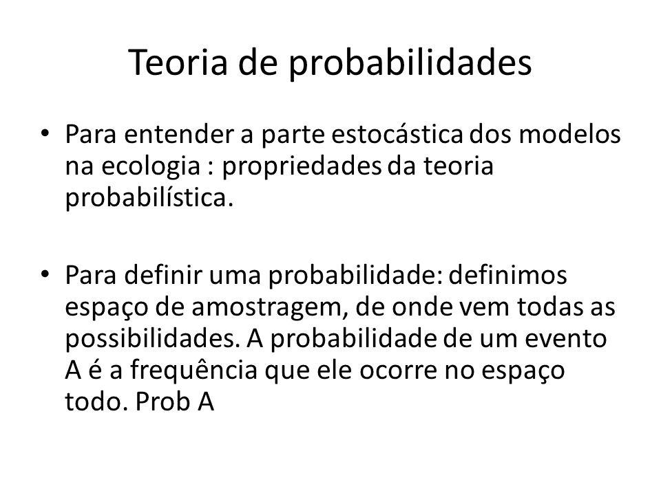 Teoria de probabilidades • Para entender a parte estocástica dos modelos na ecologia : propriedades da teoria probabilística. • Para definir uma proba