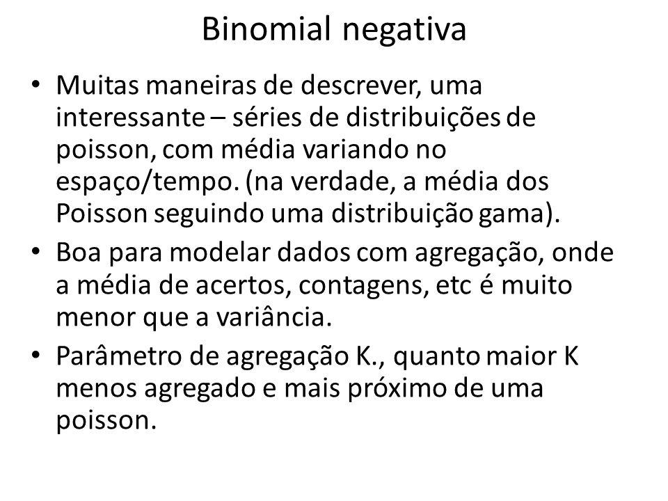 Binomial negativa • Muitas maneiras de descrever, uma interessante – séries de distribuições de poisson, com média variando no espaço/tempo. (na verda