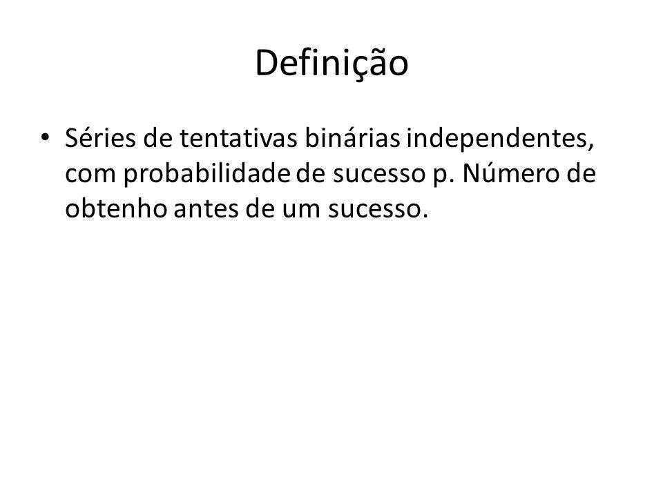 Definição • Séries de tentativas binárias independentes, com probabilidade de sucesso p. Número de obtenho antes de um sucesso.