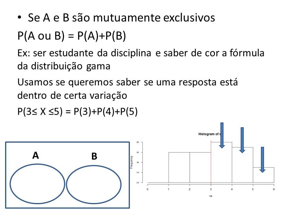 • Se A e B são mutuamente exclusivos P(A ou B) = P(A)+P(B) Ex: ser estudante da disciplina e saber de cor a fórmula da distribuição gama Usamos se que