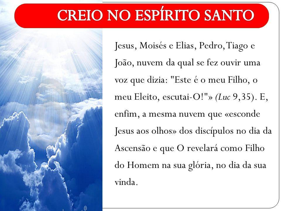Jesus, Moisés e Elias, Pedro, Tiago e João, nuvem da qual se fez ouvir uma voz que dizia: