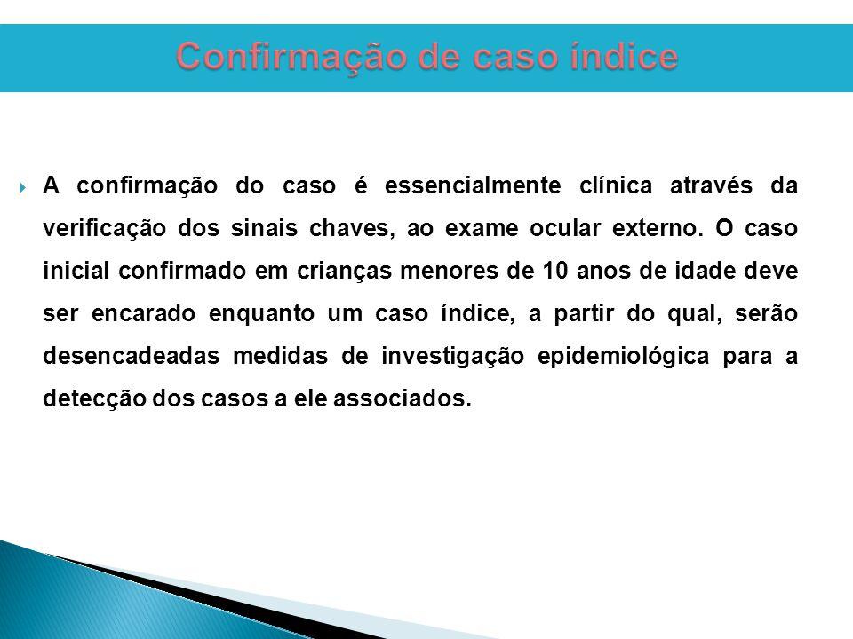  A confirmação do caso é essencialmente clínica através da verificação dos sinais chaves, ao exame ocular externo.