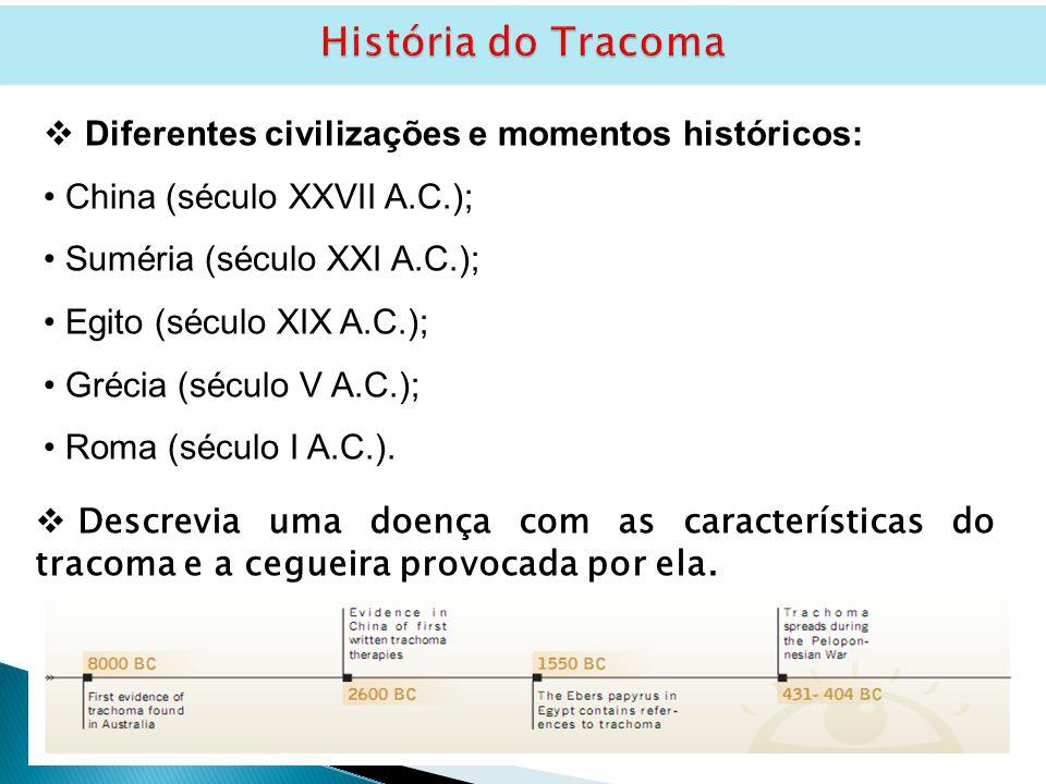 História do Tracoma  Descrevia uma doença com as características do tracoma e a cegueira provocada por ela.