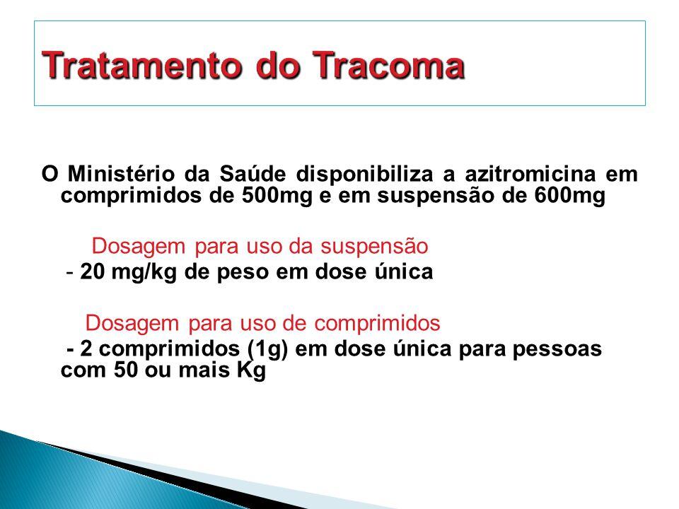 O Ministério da Saúde disponibiliza a azitromicina em comprimidos de 500mg e em suspensão de 600mg Dosagem para uso da suspensão - 20 mg/kg de peso em dose única Dosagem para uso de comprimidos - 2 comprimidos (1g) em dose única para pessoas com 50 ou mais Kg