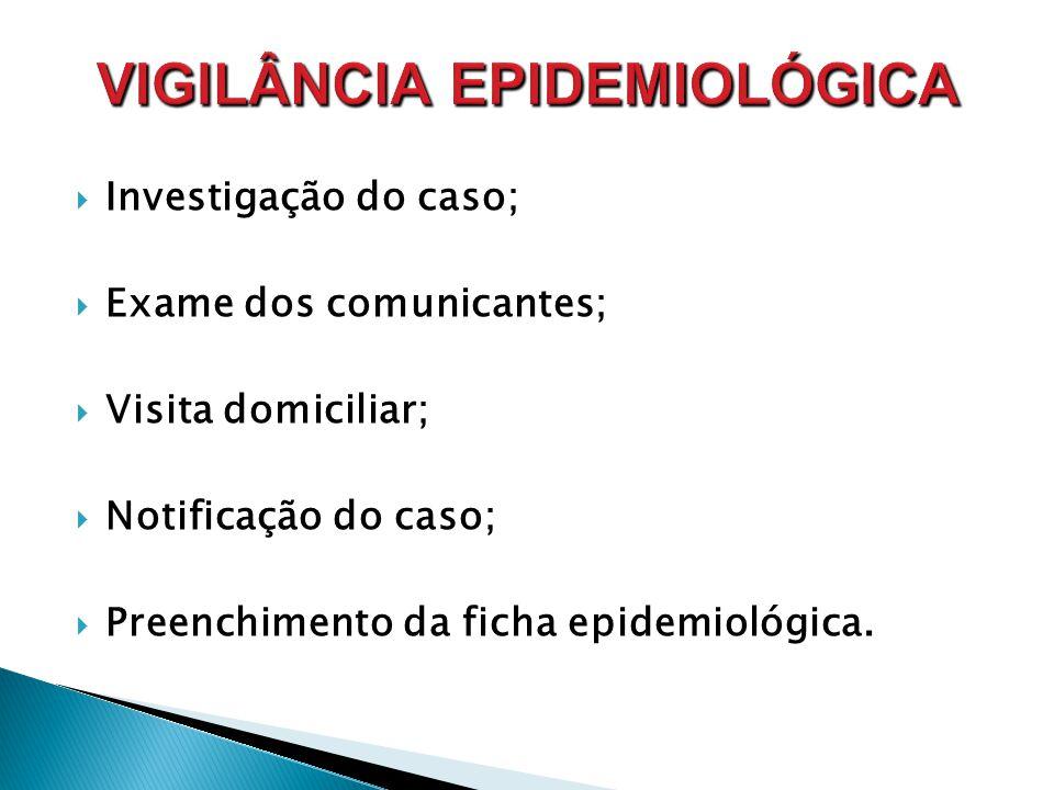  Investigação do caso;  Exame dos comunicantes;  Visita domiciliar;  Notificação do caso;  Preenchimento da ficha epidemiológica.