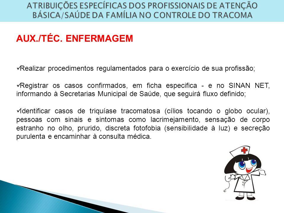 ATRIBUIÇÕES ESPECÍFICAS DOS PROFISSIONAIS DE ATENÇÃO BÁSICA/SAÚDE DA FAMÍLIA NO CONTROLE DO TRACOMA AUX./TÉC.