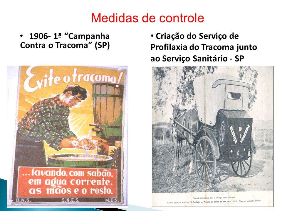 • 1906- 1ª Campanha Contra o Tracoma (SP) Medidas de controle • Criação do Serviço de Profilaxia do Tracoma junto ao Serviço Sanitário - SP