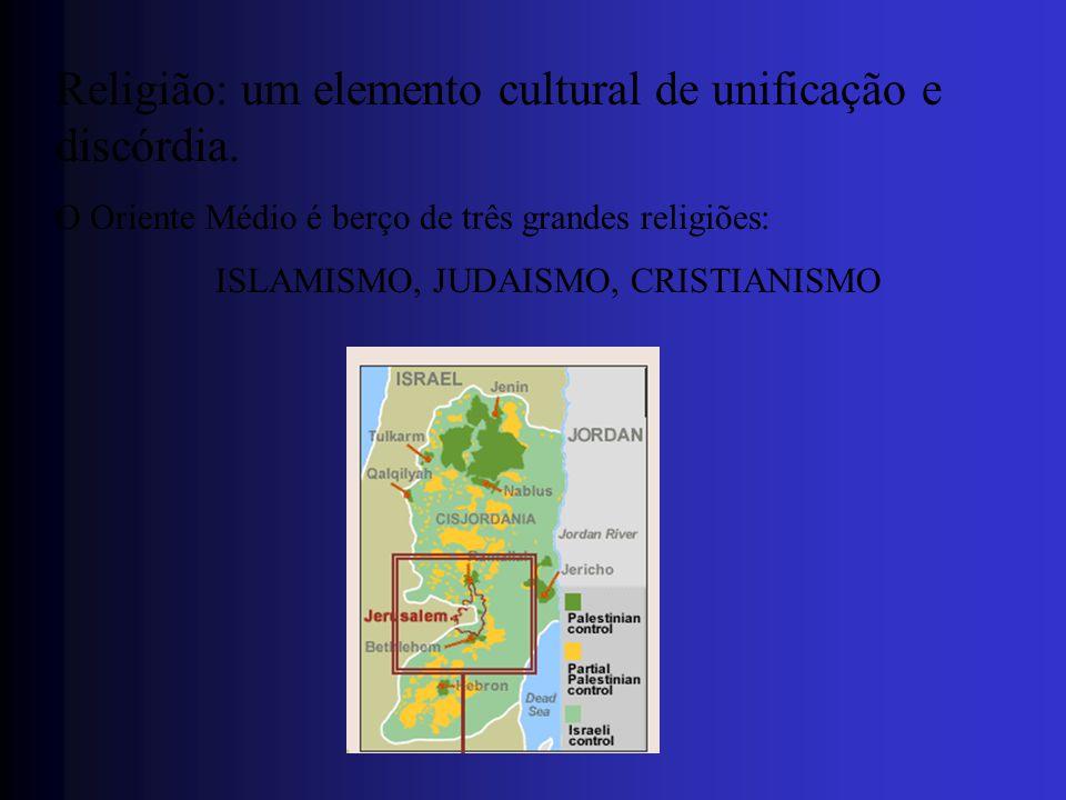 Religião: um elemento cultural de unificação e discórdia. O Oriente Médio é berço de três grandes religiões: ISLAMISMO, JUDAISMO, CRISTIANISMO