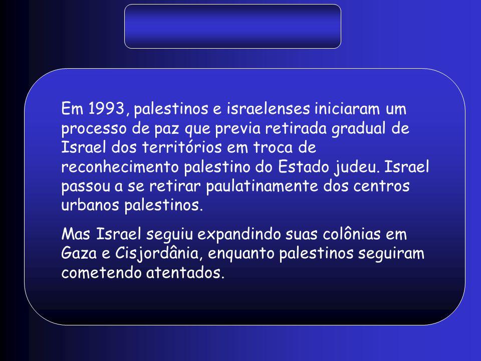Em 1993, palestinos e israelenses iniciaram um processo de paz que previa retirada gradual de Israel dos territórios em troca de reconhecimento palest