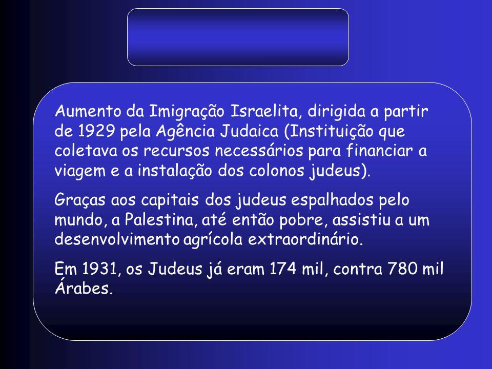 Aumento da Imigração Israelita, dirigida a partir de 1929 pela Agência Judaica (Instituição que coletava os recursos necessários para financiar a viag