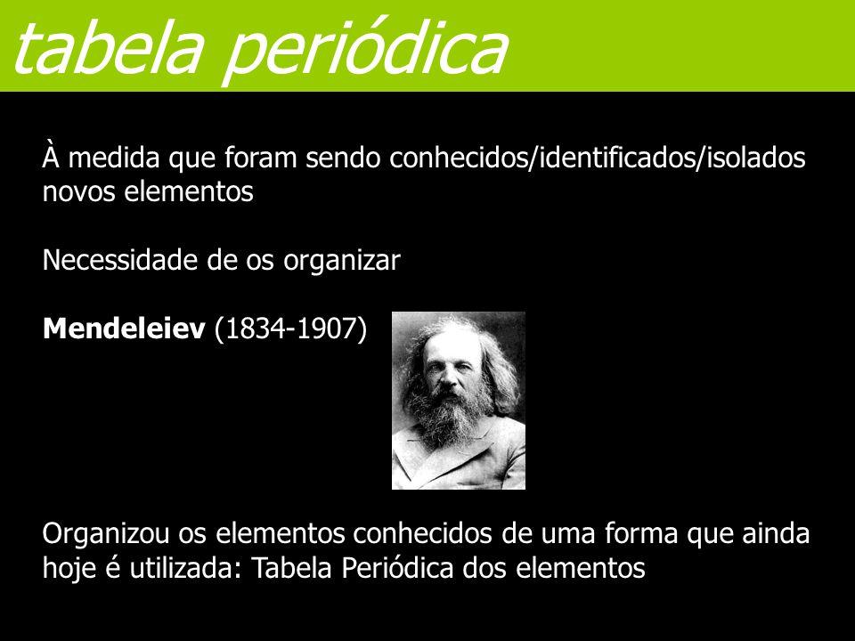 tabela periódica À medida que foram sendo conhecidos/identificados/isolados novos elementos Necessidade de os organizar Mendeleiev (1834-1907) Organiz