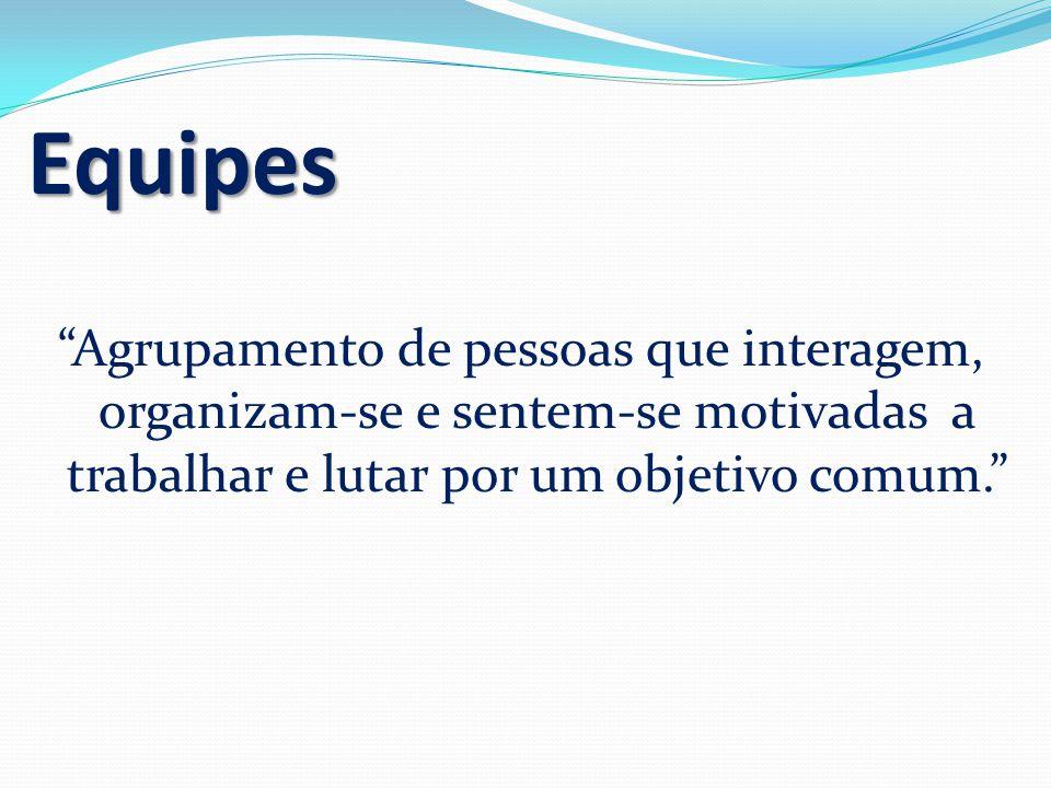 """Equipes """"Agrupamento de pessoas que interagem, organizam-se e sentem-se motivadas a trabalhar e lutar por um objetivo comum."""""""