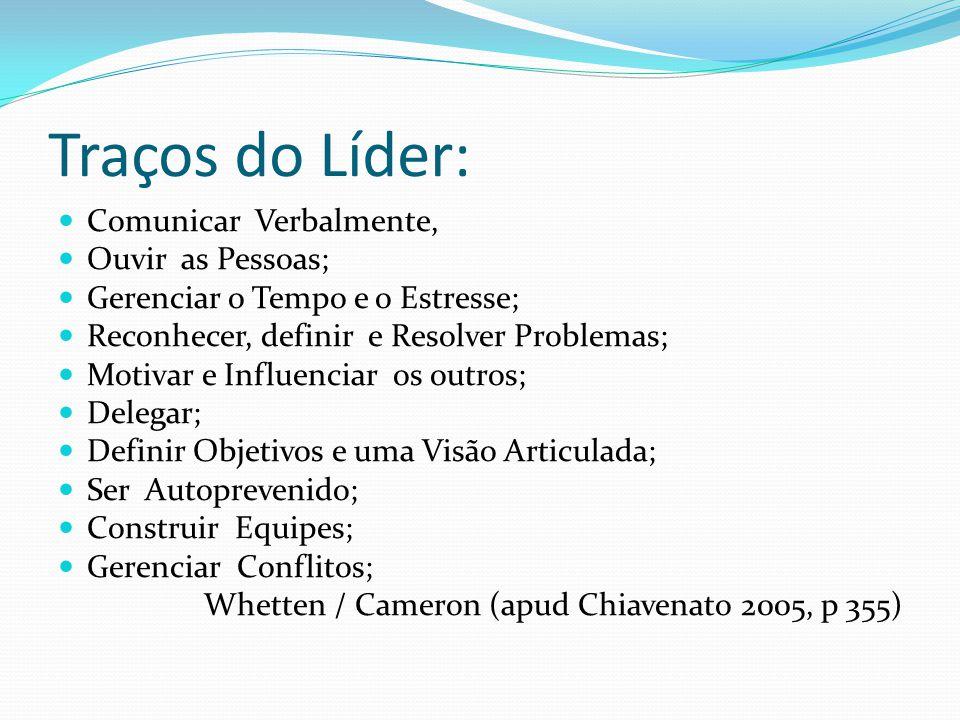 Traços do Líder:  Comunicar Verbalmente,  Ouvir as Pessoas;  Gerenciar o Tempo e o Estresse;  Reconhecer, definir e Resolver Problemas;  Motivar