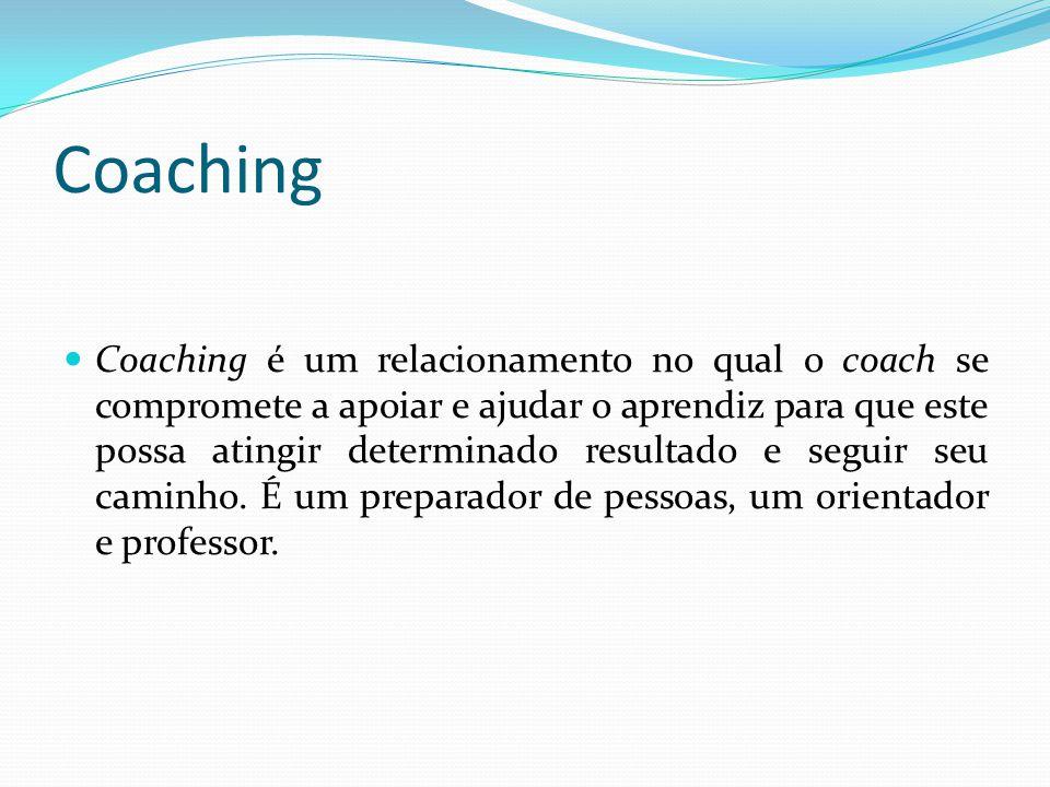 Coaching  Coaching é um relacionamento no qual o coach se compromete a apoiar e ajudar o aprendiz para que este possa atingir determinado resultado e