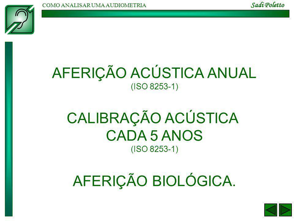 COMO ANALISAR UMA AUDIOMETRIA Sadi Poletto AFERIÇÃO ACÚSTICA ANUAL (ISO 8253-1) CALIBRAÇÃO ACÚSTICA CADA 5 ANOS (ISO 8253-1) AFERIÇÃO BIOLÓGICA.