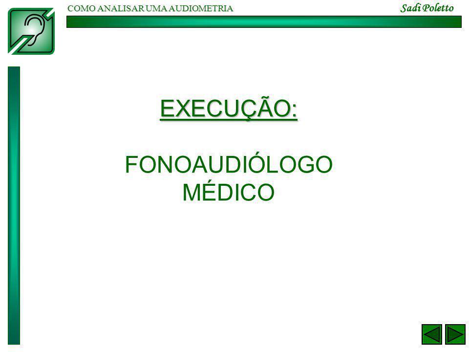 COMO ANALISAR UMA AUDIOMETRIA Sadi Poletto EXECUÇÃO: FONOAUDIÓLOGO MÉDICO