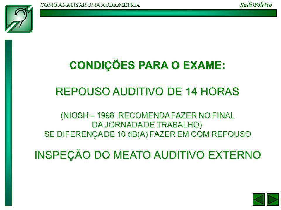 COMO ANALISAR UMA AUDIOMETRIA Sadi Poletto CONDIÇÕES PARA O EXAME: REPOUSO AUDITIVO DE 14 HORAS (NIOSH – 1998 RECOMENDA FAZER NO FINAL DA JORNADA DE TRABALHO) SE DIFERENÇA DE 10 dB(A) FAZER EM COM REPOUSO INSPEÇÃO DO MEATO AUDITIVO EXTERNO