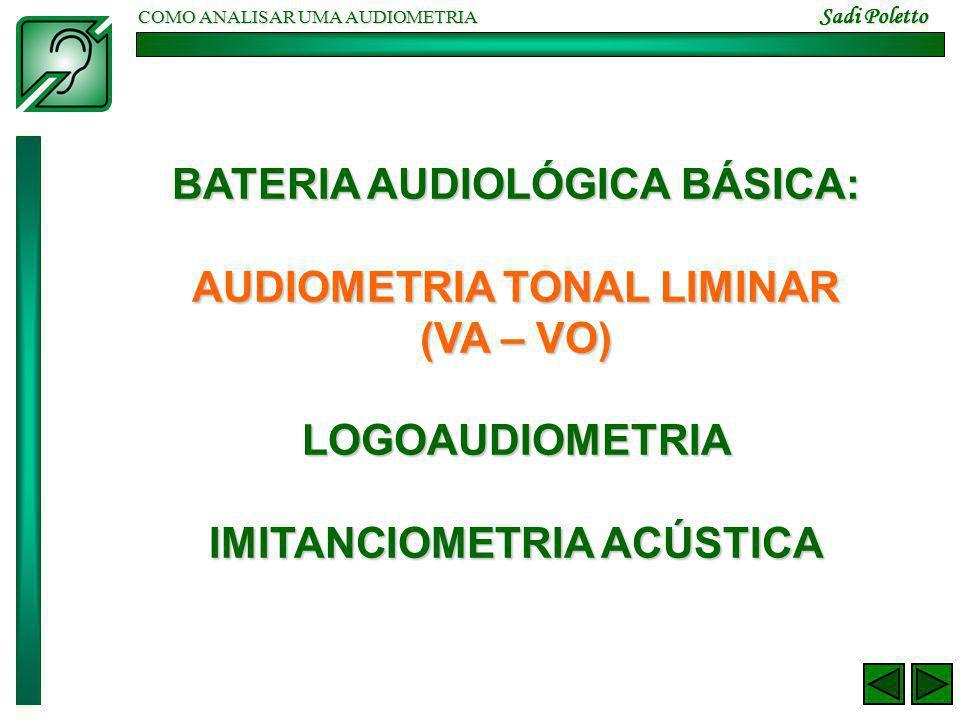 COMO ANALISAR UMA AUDIOMETRIA Sadi Poletto BATERIA AUDIOLÓGICA BÁSICA: AUDIOMETRIA TONAL LIMINAR (VA – VO) LOGOAUDIOMETRIA IMITANCIOMETRIA ACÚSTICA