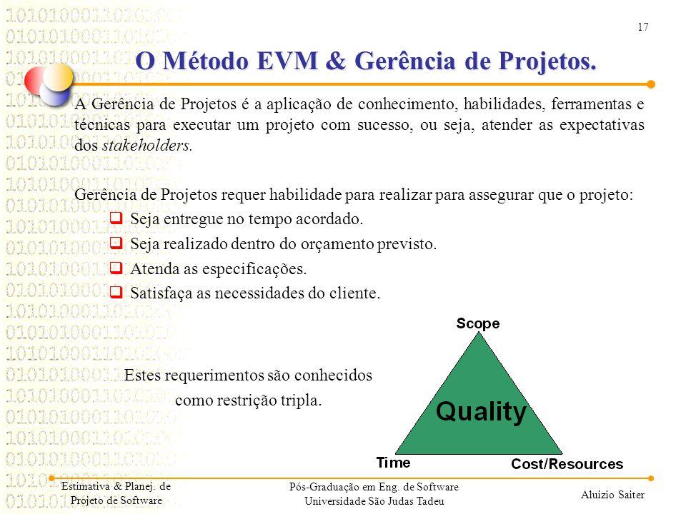 17 Aluizio Saiter O Método EVM & Gerência de Projetos. A Gerência de Projetos é a aplicação de conhecimento, habilidades, ferramentas e técnicas para