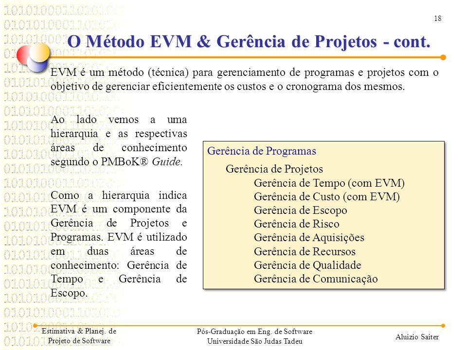 18 Aluizio Saiter O Método EVM & Gerência de Projetos - cont. EVM é um método (técnica) para gerenciamento de programas e projetos com o objetivo de g
