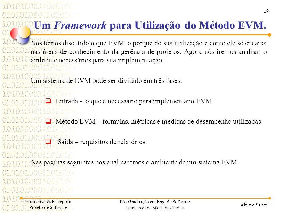 19 Aluizio Saiter Um Framework para Utilização do Método EVM. Nos temos discutido o que EVM, o porque de sua utilização e como ele se encaixa nas área