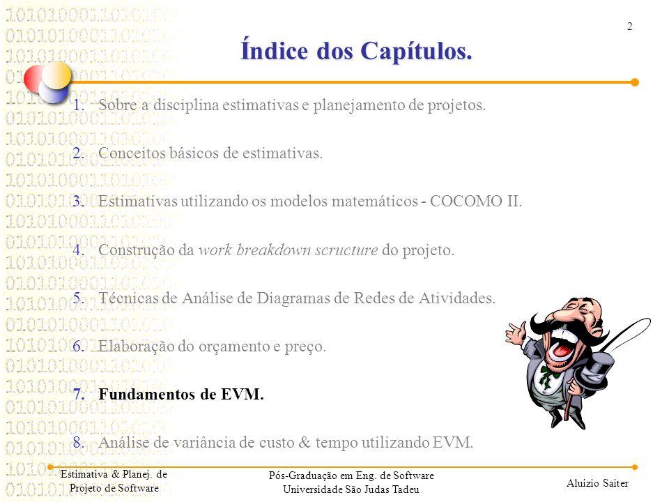 2 Aluizio Saiter Estimativa & Planej. de Projeto de Software Índice dos Capítulos. 1.Sobre a disciplina estimativas e planejamento de projetos. 2.Conc