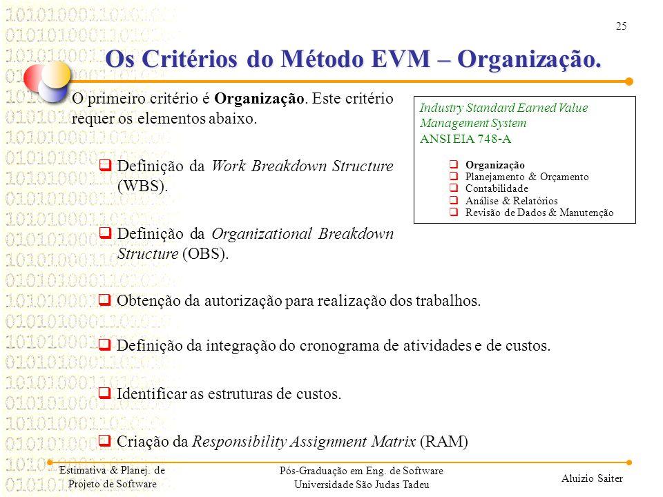 25 Aluizio Saiter Pós-Graduação em Eng. de Software Universidade São Judas Tadeu O primeiro critério é Organização. Este critério requer os elementos