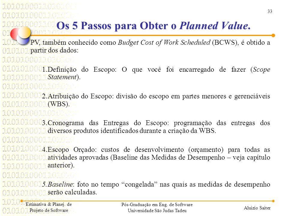33 Aluizio Saiter Pós-Graduação em Eng. de Software Universidade São Judas Tadeu PV, também conhecido como Budget Cost of Work Scheduled (BCWS), é obt