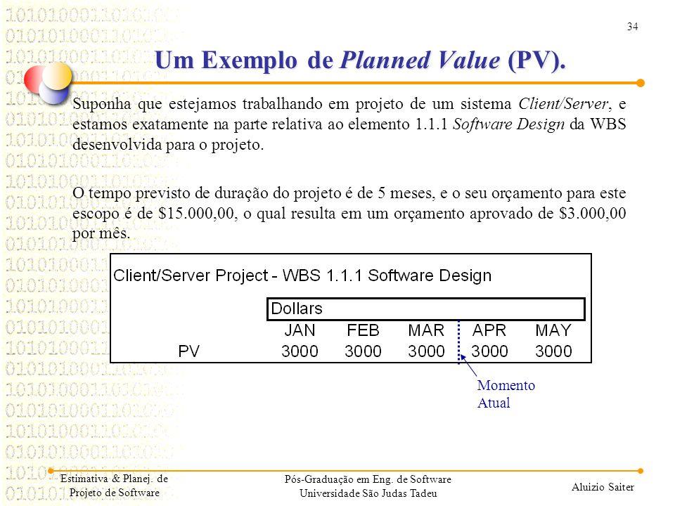 34 Aluizio Saiter Pós-Graduação em Eng. de Software Universidade São Judas Tadeu Suponha que estejamos trabalhando em projeto de um sistema Client/Ser