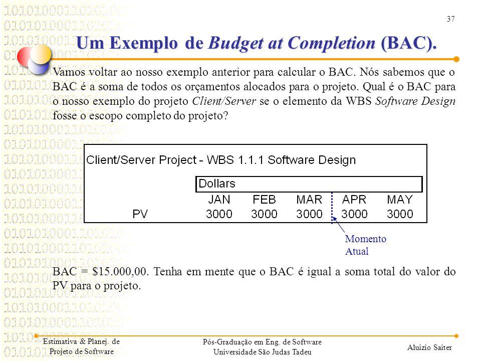 37 Aluizio Saiter Pós-Graduação em Eng. de Software Universidade São Judas Tadeu Vamos voltar ao nosso exemplo anterior para calcular o BAC. Nós sabem