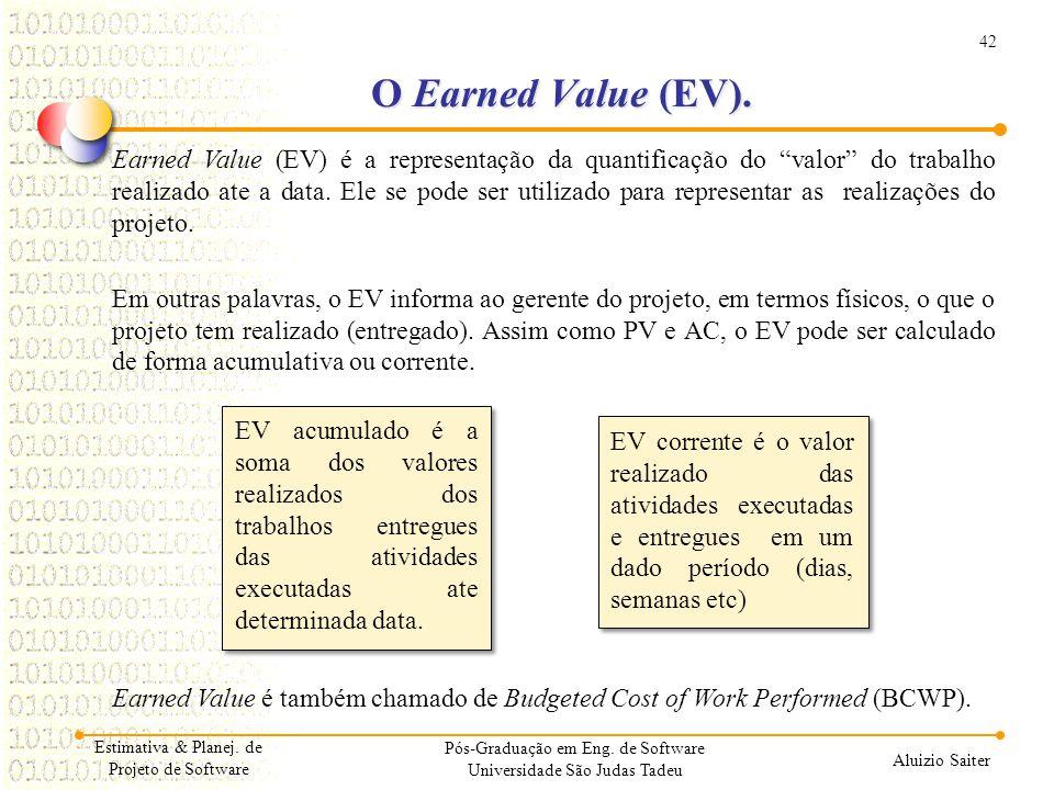 """42 Aluizio Saiter Pós-Graduação em Eng. de Software Universidade São Judas Tadeu Earned Value (EV) é a representação da quantificação do """"valor"""" do tr"""