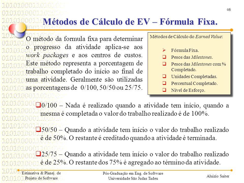 46 Aluizio Saiter Pós-Graduação em Eng. de Software Universidade São Judas Tadeu O método da formula fixa para determinar o progresso da atividade apl