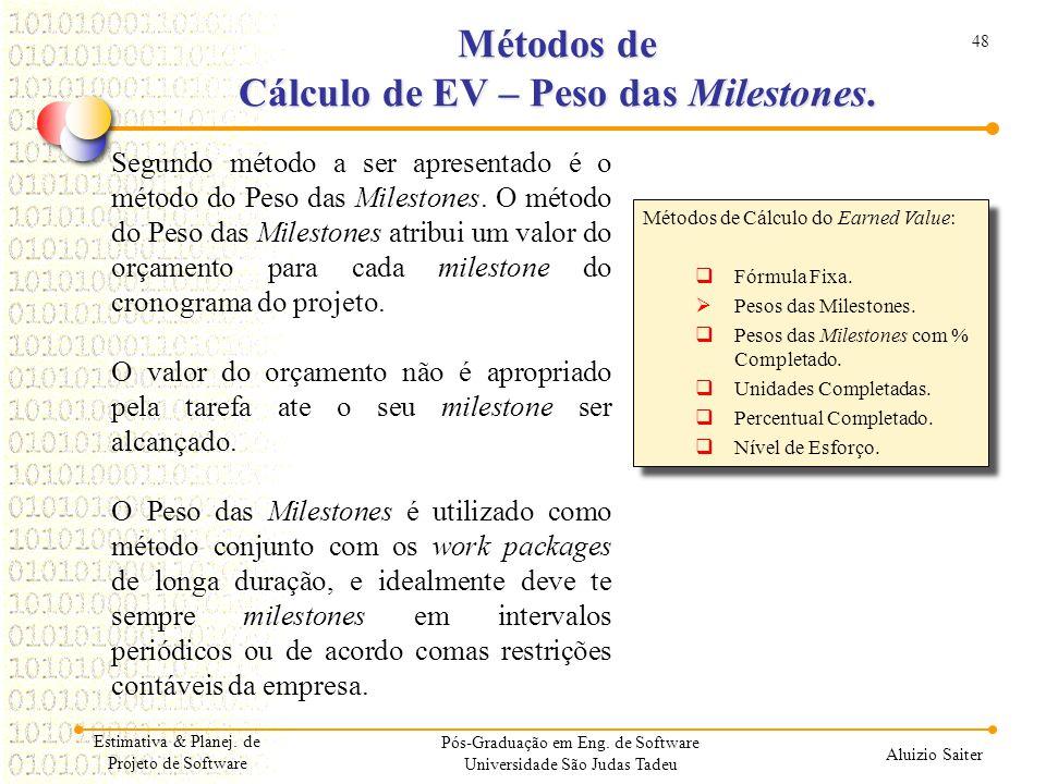 48 Aluizio Saiter Pós-Graduação em Eng. de Software Universidade São Judas Tadeu Segundo método a ser apresentado é o método do Peso das Milestones. O