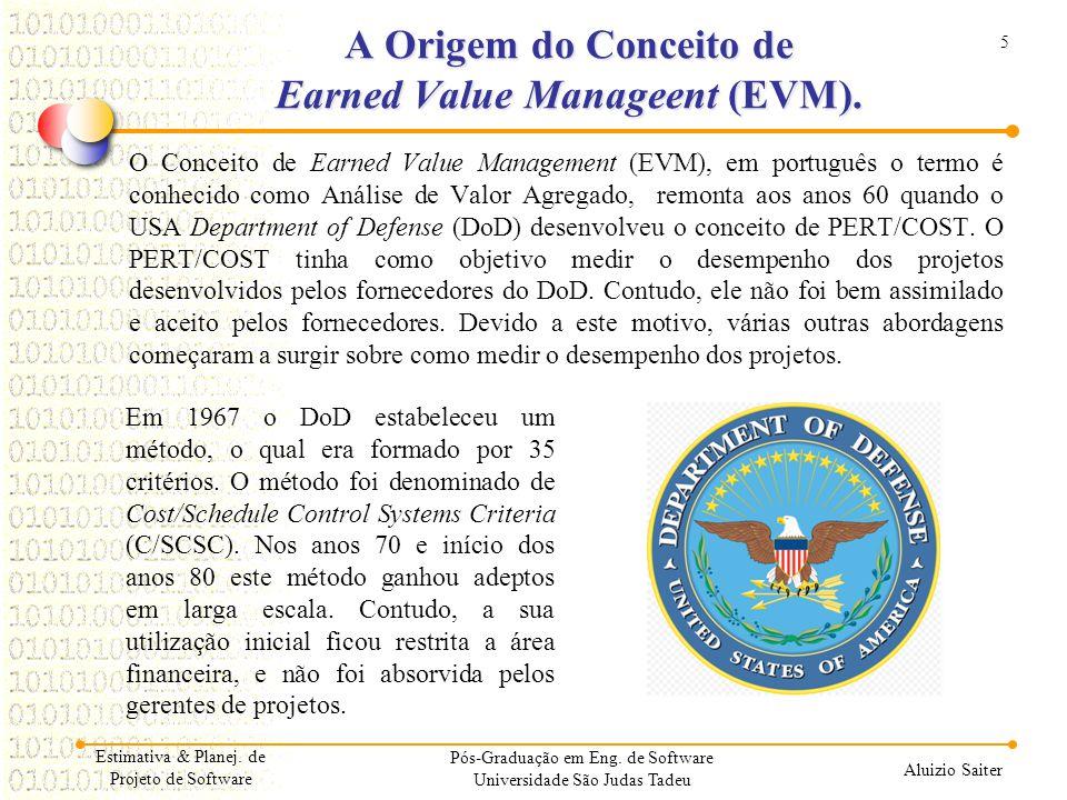 5 Aluizio Saiter Estimativa & Planej. de Projeto de Software Pós-Graduação em Eng. de Software Universidade São Judas Tadeu A Origem do Conceito de Ea
