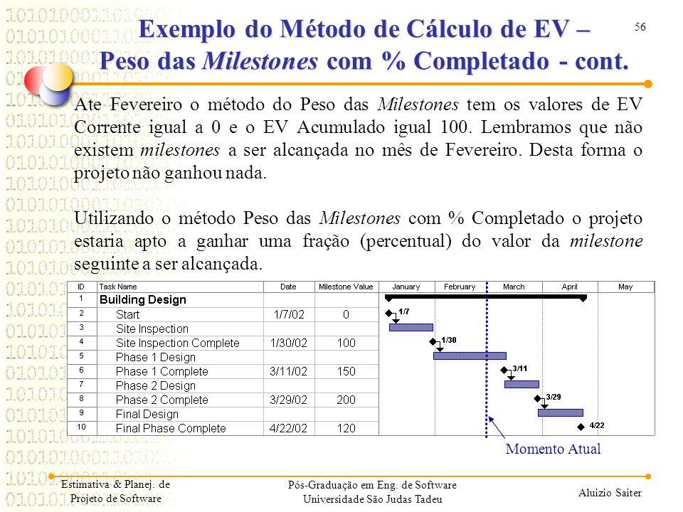 56 Aluizio Saiter Pós-Graduação em Eng. de Software Universidade São Judas Tadeu Ate Fevereiro o método do Peso das Milestones tem os valores de EV Co