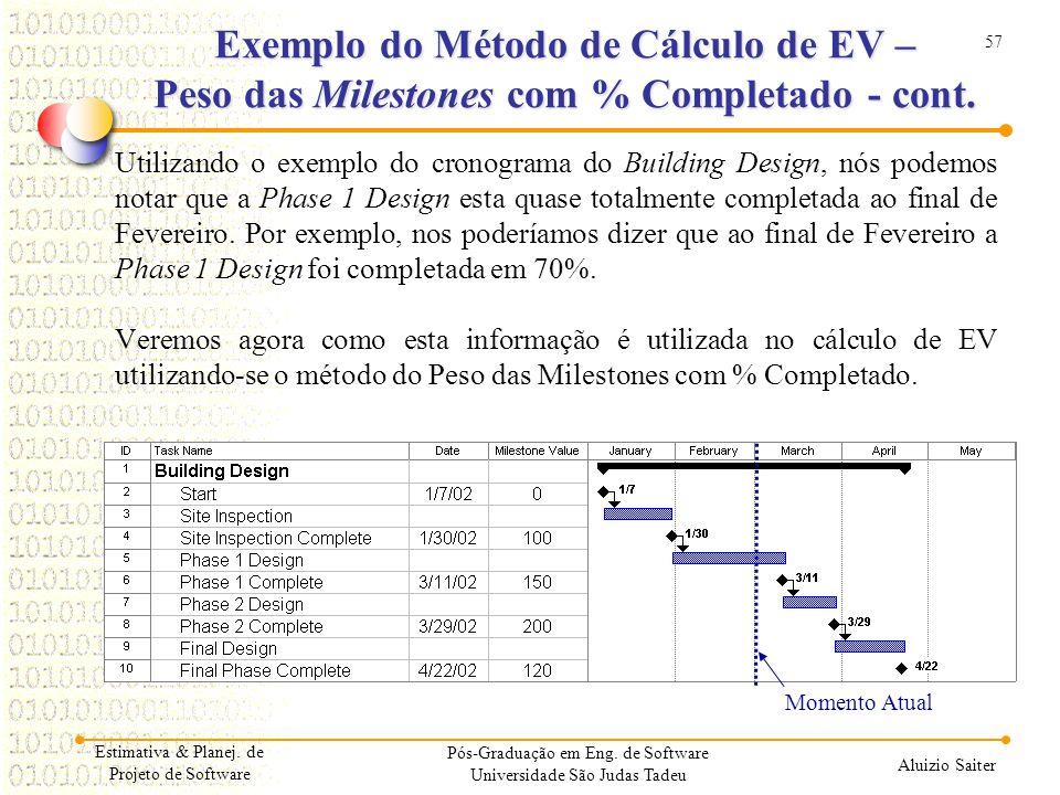 57 Aluizio Saiter Pós-Graduação em Eng. de Software Universidade São Judas Tadeu Utilizando o exemplo do cronograma do Building Design, nós podemos no