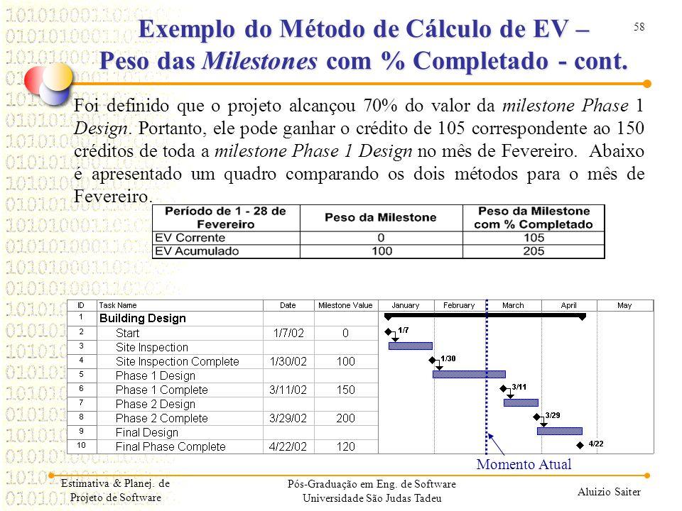 58 Aluizio Saiter Pós-Graduação em Eng. de Software Universidade São Judas Tadeu Foi definido que o projeto alcançou 70% do valor da milestone Phase 1