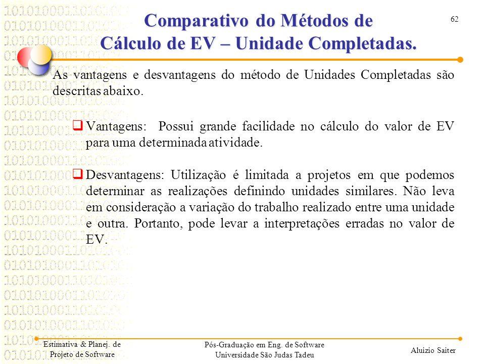 62 Aluizio Saiter Pós-Graduação em Eng. de Software Universidade São Judas Tadeu As vantagens e desvantagens do método de Unidades Completadas são des