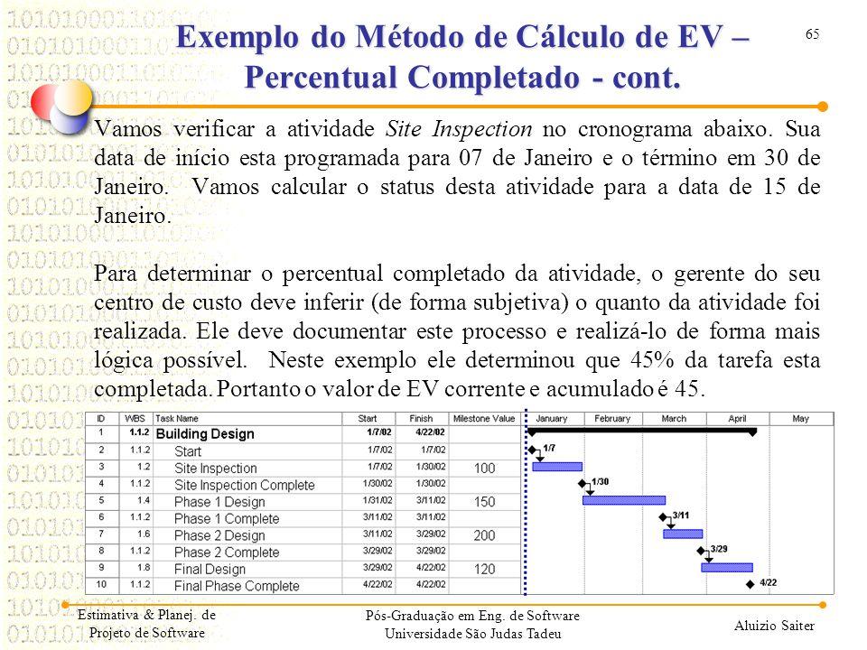 65 Aluizio Saiter Pós-Graduação em Eng. de Software Universidade São Judas Tadeu Vamos verificar a atividade Site Inspection no cronograma abaixo. Sua