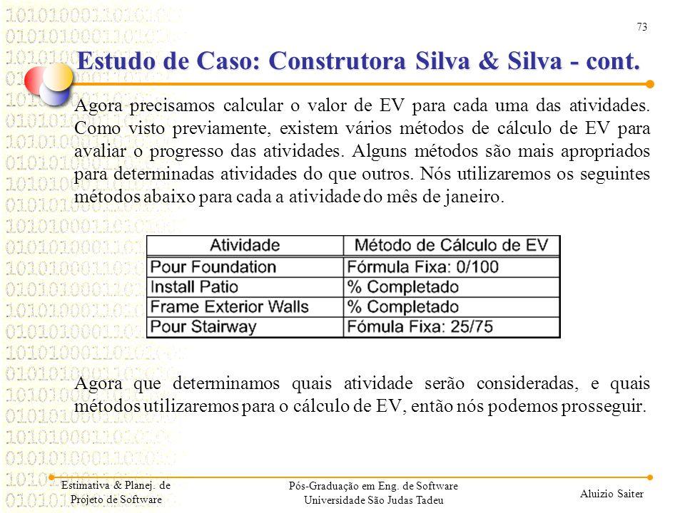73 Aluizio Saiter Pós-Graduação em Eng. de Software Universidade São Judas Tadeu Agora precisamos calcular o valor de EV para cada uma das atividades.