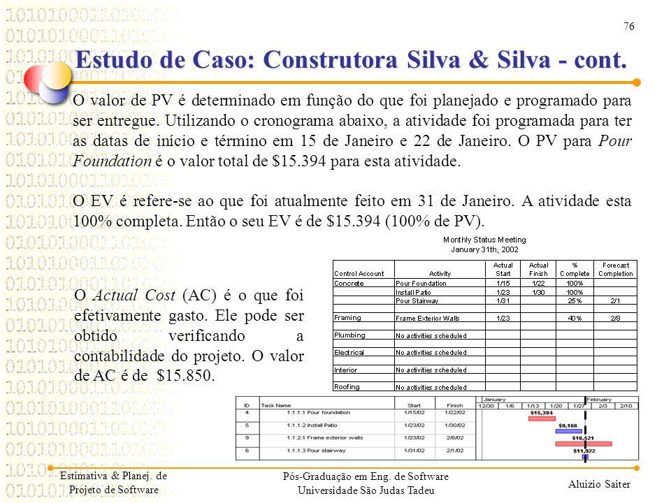 76 Aluizio Saiter Pós-Graduação em Eng. de Software Universidade São Judas Tadeu O valor de PV é determinado em função do que foi planejado e programa