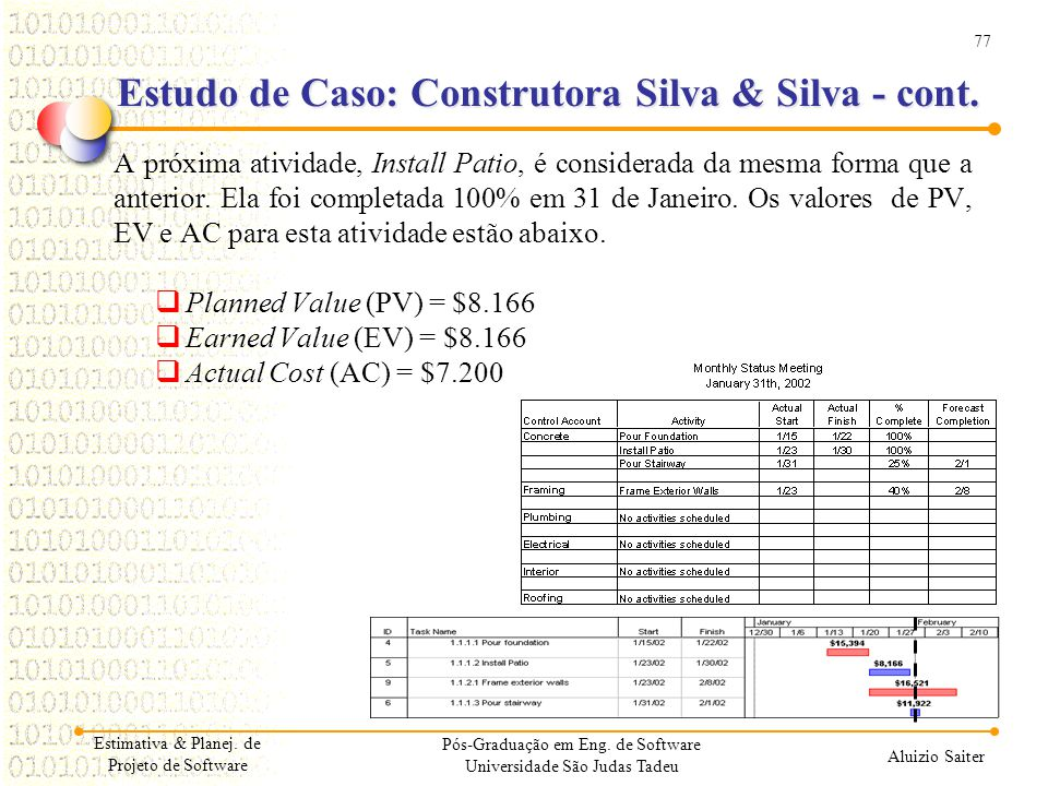 77 Aluizio Saiter Pós-Graduação em Eng. de Software Universidade São Judas Tadeu A próxima atividade, Install Patio, é considerada da mesma forma que